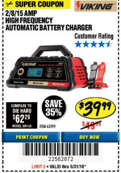 Harbor Freight Coupon 2/8/15 AMP FULLY AUTOMATIC BATTERY CHARGER Lot No. 63299 Expired: 5/31/18 - $39.99