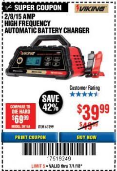 Harbor Freight Coupon 2/8/15 AMP FULLY AUTOMATIC BATTERY CHARGER Lot No. 63299 Expired: 7/2/18 - $39.99