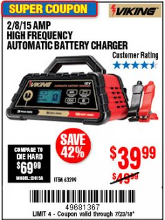 Harbor Freight Coupon 2/8/15 AMP FULLY AUTOMATIC BATTERY CHARGER Lot No. 63299 Valid Thru: 7/23/18 - $0