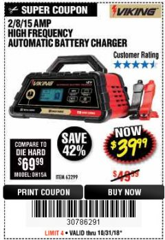 Harbor Freight Coupon 2/8/15 AMP FULLY AUTOMATIC BATTERY CHARGER Lot No. 63299 EXPIRES: 10/31/18 - $39.99