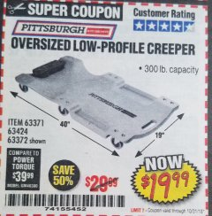 Harbor Freight Coupon OVERSIZED LOW-PROFILE CREEPER Lot No. 63371/63424 Expired: 10/31/18 - $19.99