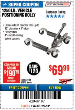 Harbor Freight Coupon 1250 LB. VEHICLE POSITIONING DOLLY Lot No. 62234/61917 Expired: 7/22/18 - $69.99
