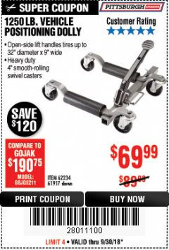 Harbor Freight Coupon 1250 LB. VEHICLE POSITIONING DOLLY Lot No. 62234/61917 Expired: 9/30/18 - $69.99