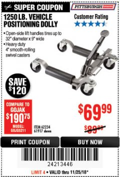 Harbor Freight Coupon 1250 LB. VEHICLE POSITIONING DOLLY Lot No. 62234/61917 Expired: 11/25/18 - $69.99