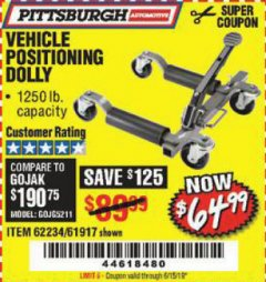 Harbor Freight Coupon 1250 LB. VEHICLE POSITIONING DOLLY Lot No. 62234/61917 Valid Thru: 6/15/19 - $64.99