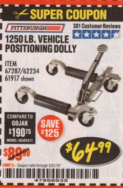 Harbor Freight Coupon 1250 LB. VEHICLE POSITIONING DOLLY Lot No. 62234/61917 Expired: 3/31/19 - $64.99