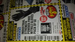 Harbor Freight Coupon INDUSTRIAL STRENGTH POWDER-FREE NITRILE GLOVES PACK OF 50 Lot No. 68510 Expired: 7/31/18 - $8.99