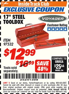 "Harbor Freight ITC Coupon 17"" STEEL TOOLBOX Lot No. 97532 Expired: 8/31/18 - $12.99"