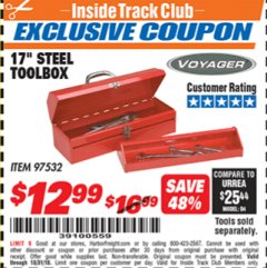 "Harbor Freight ITC Coupon 17"" STEEL TOOLBOX Lot No. 97532 Expired: 10/31/18 - $12.99"