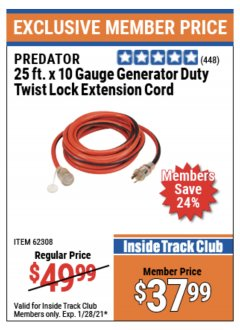 Harbor Freight ITC Coupon 25 FT. X 10 GAUGE GENERATOR DUTY TWIST LOCK EXTENSION CORD Lot No. 62308 Expired: 1/28/21 - $37.99