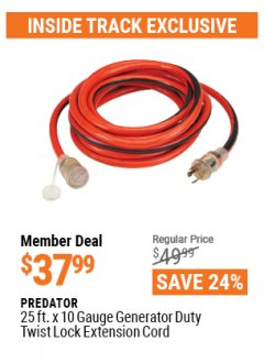 Harbor Freight ITC Coupon 25 FT. X 10 GAUGE GENERATOR DUTY TWIST LOCK EXTENSION CORD Lot No. 62308 Valid Thru: 4/29/21 - $37.99