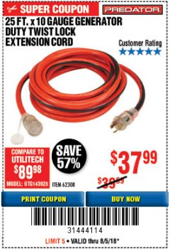 Harbor Freight Coupon 25 FT. X 10 GAUGE GENERATOR DUTY TWIST LOCK EXTENSION CORD Lot No. 62308 Expired: 8/5/18 - $37.99