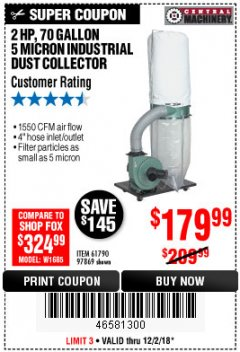 Harbor Freight Coupon 2 HP INDUSTRIAL 5 MICRON DUST COLLECTOR Lot No. 97869/61790 Expired: 12/2/18 - $179.99