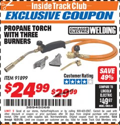 Harbor Freight ITC Coupon PROPANE TORCH WITH THREE BURNERS Lot No. 91899 Expired: 10/31/18 - $24.99