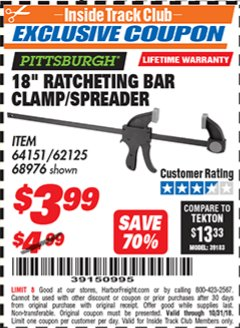 "Harbor Freight ITC Coupon 18"" RATCHETING BAR CLAMP/SPREADER Lot No. 62125, 68976 Expired: 10/31/18 - $3.99"