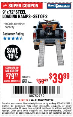 "Harbor Freight Coupon 9"" x 72"", 2 PIECE STEEL LOADING RAMPS Lot No. 44649/69591/69646 Expired: 12/22/19 - $39.99"