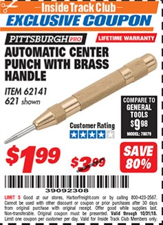 Harbor Freight ITC Coupon AUTOMATIC CENTER PUNCH WITH BRASS HANDLE Lot No. 621 Expired: 10/31/18 - $1.99