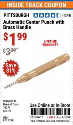 Harbor Freight Coupon AUTOMATIC CENTER PUNCH WITH BRASS HANDLE Lot No. 621 Expired: 8/31/20 - $1.99