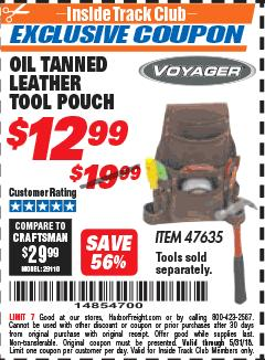 Harbor Freight ITC Coupon OIL TANNED LEATHER TOOL POUCH Lot No. 47635 Expired: 5/31/18 - $12.99