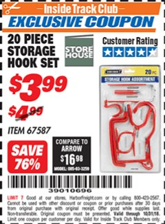 Harbor Freight ITC Coupon 20 PIECE STORAGE HOOK SET  Lot No. 67587 Expired: 10/31/18 - $3.99