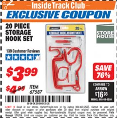 Harbor Freight ITC Coupon 20 PIECE STORAGE HOOK SET  Lot No. 67587 Expired: 1/31/19 - $3.99