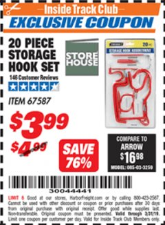 Harbor Freight ITC Coupon 20 PIECE STORAGE HOOK SET  Lot No. 67587 Valid Thru: 3/31/19 - $3.99