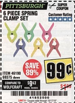 Harbor Freight Coupon 6 PIECE MICRO SPRING CLAMP SET Lot No. 46190/69375 Expired: 10/17/18 - $0.99