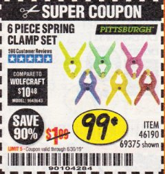 Harbor Freight Coupon 6 PIECE MICRO SPRING CLAMP SET Lot No. 46190/69375 Expired: 6/30/19 - $0.99