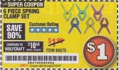 Harbor Freight Coupon 6 PIECE MICRO SPRING CLAMP SET Lot No. 46190/69375 Expired: 8/14/19 - $1