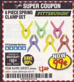Harbor Freight Coupon 6 PIECE MICRO SPRING CLAMP SET Lot No. 46190/69375 Expired: 10/31/19 - $0.99