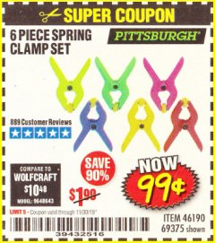 Harbor Freight Coupon 6 PIECE MICRO SPRING CLAMP SET Lot No. 46190/69375 Expired: 11/30/19 - $0.99