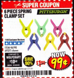 Harbor Freight Coupon 6 PIECE MICRO SPRING CLAMP SET Lot No. 46190/69375 Valid: 2/18/20 - 3/31/20 - $0.99