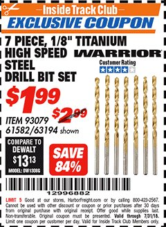 "Harbor Freight ITC Coupon 7 PIECE, 1/8"" TITANIUM HIGH SPEED STEEL DRILL BIT SET Lot No. 93079/63194/61582 Expired: 7/31/18 - $1.99"