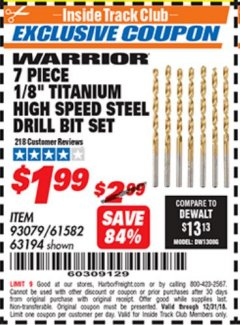 "Harbor Freight ITC Coupon 7 PIECE, 1/8"" TITANIUM HIGH SPEED STEEL DRILL BIT SET Lot No. 93079/63194/61582 Expired: 12/31/18 - $1.99"