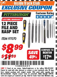 Harbor Freight ITC Coupon 12 PIECE FILE AND RASP SET Lot No. 97070 Expired: 5/31/18 - $8.99