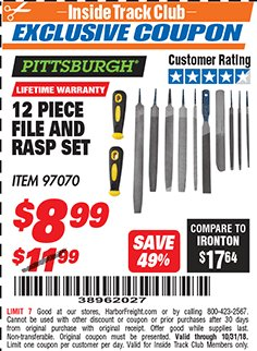 Harbor Freight ITC Coupon 12 PIECE FILE AND RASP SET Lot No. 97070 Expired: 10/31/18 - $8.99