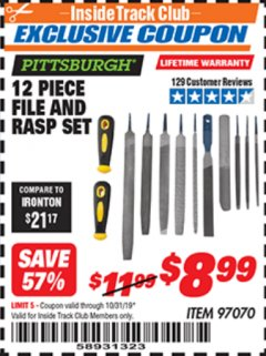 Harbor Freight ITC Coupon 12 PIECE FILE AND RASP SET Lot No. 97070 Expired: 10/31/19 - $8.99