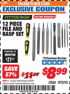 Harbor Freight ITC Coupon 12 PIECE FILE AND RASP SET Lot No. 97070 Expired: 4/30/20 - $8.99