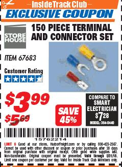 Harbor Freight ITC Coupon 150 PIECE TERMINAL AND CONNECTOR SET Lot No. 67683 Expired: 5/31/18 - $3.99