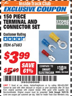 Harbor Freight ITC Coupon 150 PIECE TERMINAL AND CONNECTOR SET Lot No. 67683 Expired: 10/31/18 - $3.99