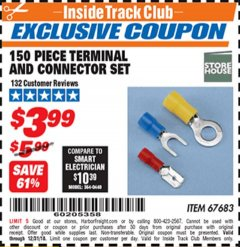 Harbor Freight ITC Coupon 150 PIECE TERMINAL AND CONNECTOR SET Lot No. 67683 Valid Thru: 12/31/18 - $3.99