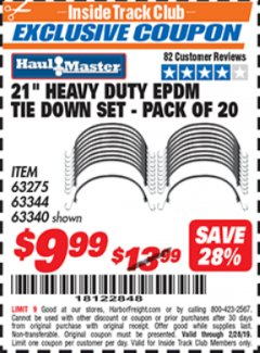 "Harbor Freight ITC Coupon 20 PIECE, 21"" HEAVY DUTY SYNTHETIC RUBBER TIE DOWN SET Lot No. 63340/60585/63275/63344 Dates Valid: 12/31/69 - 2/28/19 - $9.99"