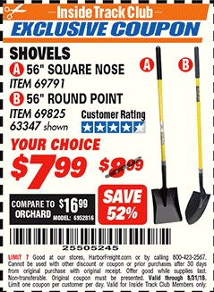 "Harbor Freight ITC Coupon 56"" SHOVEL Lot No. 69825/69791 Expired: 8/31/18 - $7.99"