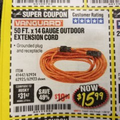 Harbor Freight Coupon 50FT.X14GAUGE OUTDOOR EXTENSION CORD Lot No. 41447/62924/62925 Expired: 11/30/18 - $15.99