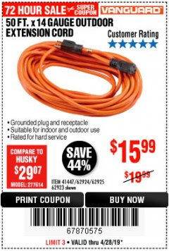 Harbor Freight Coupon 50FT.X14GAUGE OUTDOOR EXTENSION CORD Lot No. 41447/62924/62925 Expired: 4/28/19 - $15.99