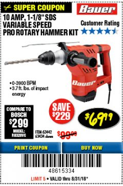 "Harbor Freight Coupon BAUER 10 AMP, 1-1/8"" SDS VARIABLE SPEED PRO ROTARY HAMMER KIT Lot No. 64287/64288 Expired: 8/31/18 - $69.99"