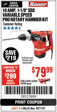 "Harbor Freight Coupon BAUER 10 AMP, 1-1/8"" SDS VARIABLE SPEED PRO ROTARY HAMMER KIT Lot No. 64287/64288 Expired: 10/7/18 - $79.99"