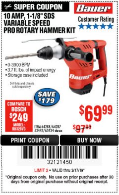 "Harbor Freight Coupon BAUER 10 AMP, 1-1/8"" SDS VARIABLE SPEED PRO ROTARY HAMMER KIT Lot No. 64287/64288 Expired: 3/17/19 - $69.99"