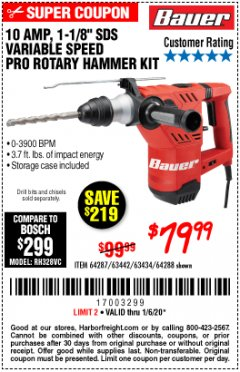 "Harbor Freight Coupon BAUER 10 AMP, 1-1/8"" SDS VARIABLE SPEED PRO ROTARY HAMMER KIT Lot No. 64287/64288 Expired: 1/6/20 - $79.99"