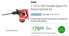 "Harbor Freight Coupon BAUER 10 AMP, 1-1/8"" SDS VARIABLE SPEED PRO ROTARY HAMMER KIT Lot No. 64287/64288 Valid Thru: 6/30/20 - $79.99"